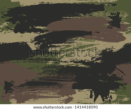 Seamless Vector Brushstroke Camouflage Pattern