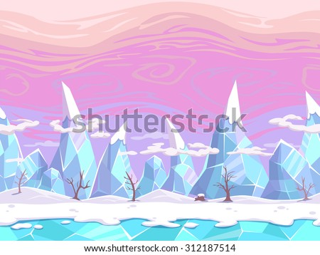 Seamless vector cartoon fantasy landscape with ice mountains, separated layers for game design