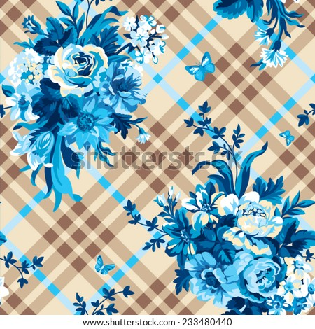 seamless vector check background with bouquets of flowers