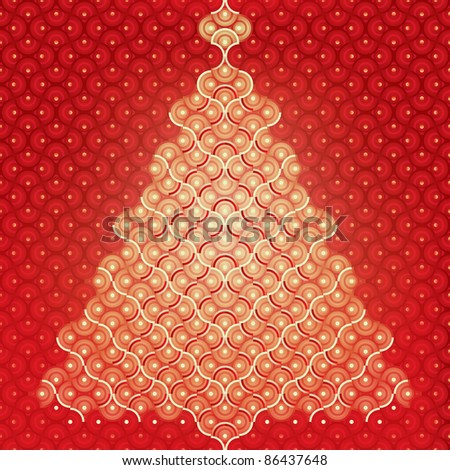 Seamless vector Christmas tree background organic pattern wrap