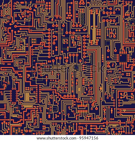 Seamless vector color texture - electronic circuit board