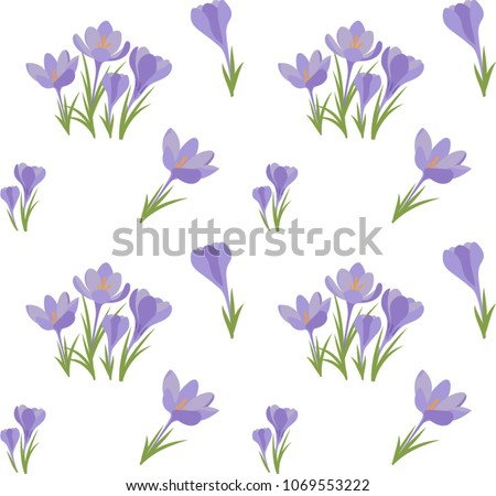 Crocus flowers download free vector art stock graphics images seamless vector crocus background colored small group of crocus flowers on white background suitable mightylinksfo