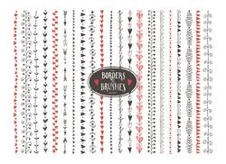 Seamless vector decorative doodle heart paintbrushes with Inner and outer corners.Hand drawn ink brushes.Brushes are included in eps.Seamless pattern of different colors for frames for valentines day.