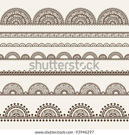 Seamless vector delicate lace ribbon set Borders set