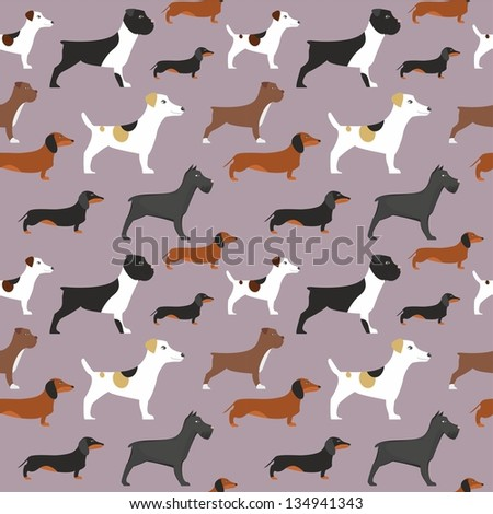 seamless  vector dogs pattern