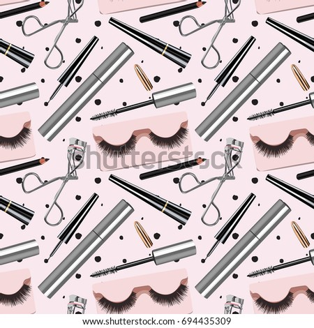 Seamless Vector Eye Cosmetics Pattern #694435309