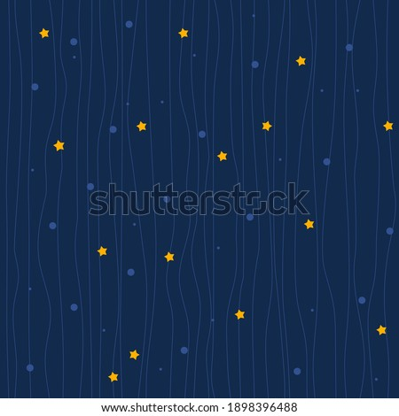 Seamless vector fairy texture on blue. A pattern of blue lines, yellow stars, and dots. Elegant background, children's night fairy background