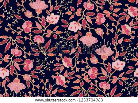 Seamless vector floral ditsy pattern on dark background, asian indian style