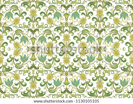 Seamless vector floral ornament with decorative bellflowers, art deco style, medieval style