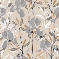 Seamless vector floral pattern. Arrangement cream iris flowers by delicately leaves on a light beige color background. Hand-drawn illustration. Square repeating pattern for fabric and wallpaper.