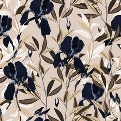 Seamless vector floral pattern. Arrangement dark blue iris flowers by delicately cream leaves on a light beige, tan color background. Hand-drawn illustration. Square repeating pattern for fabric