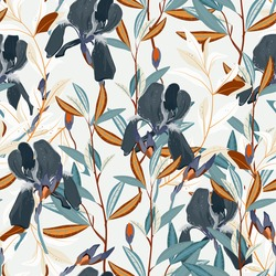 Seamless vector floral pattern. Arrangement dark blue iris flowers by delicately leaves on a light cream color background. Hand-drawn illustration. Square repeating pattern for fabric and wallpaper.