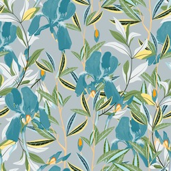 Seamless vector floral pattern. Arrangement light blue iris flowers by delicately green leaves on a grey color background. Hand-drawn illustration. Square repeating pattern for fabric and wallpaper.