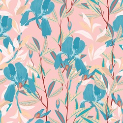 Seamless vector floral pattern. Arrangement light blue iris flowers by delicately leaves on a light hot pink color background. Hand-drawn illustration. Square repeating pattern for fabric