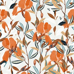 Seamless vector floral pattern. Arrangement orange iris flowers by delicately leaves on a light grey color background. Hand-drawn illustration. Square repeating pattern for fabric and wallpaper.