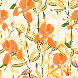 Seamless vector floral pattern. Arrangement orange iris flowers by delicately yellow leaves on a light cream color background. Hand-drawn illustration. Square repeating pattern for fabric