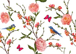 Seamless vector floral pattern background with hand drawn birds, tropical japanese flowers, butterflies, peony flowers. Perfect for wallpapers, web page backgrounds, surface textures, textile.