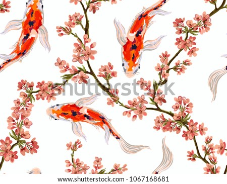Seamless vector floral pattern background with hand drawn koi fish, tropical japanese flowers, branches. Perfect for wallpapers, web page backgrounds, surface textures, textile.