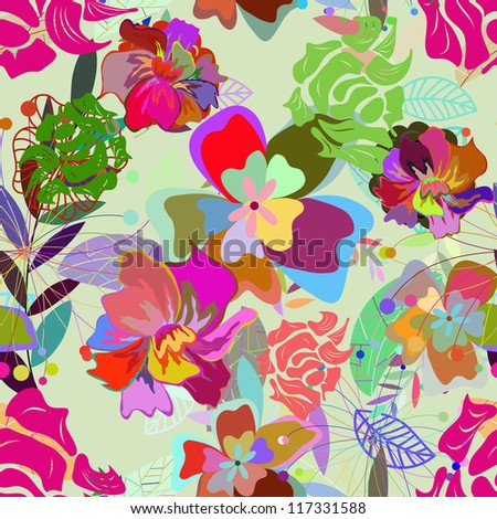 Seamless vector floral pattern For easy making seamless pattern just drag all group into swatches bar and use it for filling any contours.