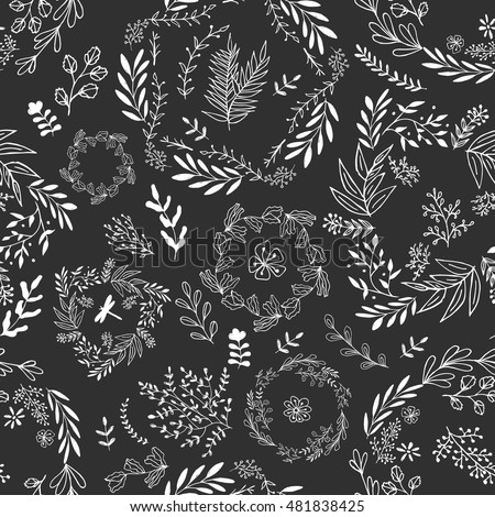 Seamless vector floral pattern for wallpaper and gift wrap paper. Black and white illustration.
