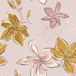 Seamless vector Floral Pattern in vector. Tender blue green flowers on pink background. Floral botany art