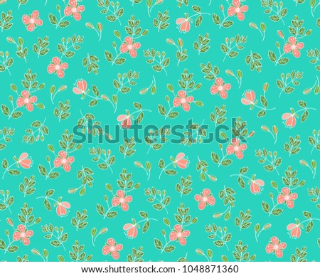 Seamless vector floral pattern  with salmon-pink spring flowers on green- turquoise background