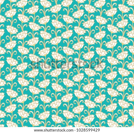 Seamless vector floral pattern with white carnations on green - turquoise background