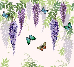 Seamless vector floral summer pattern background with tropical japanese flowers,  butterflies, wisteria. Perfect for wallpapers, web page backgrounds, surface textures, textile.