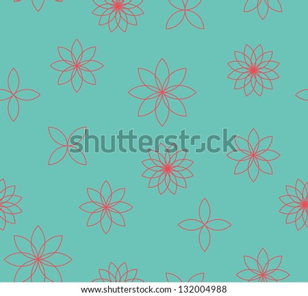 Seamless vector flower outline pattern background
