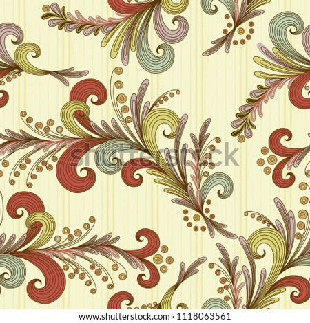 Seamless vector flower pattern in pastel tones on the decorative yellow background as a fabric texture #1118063561