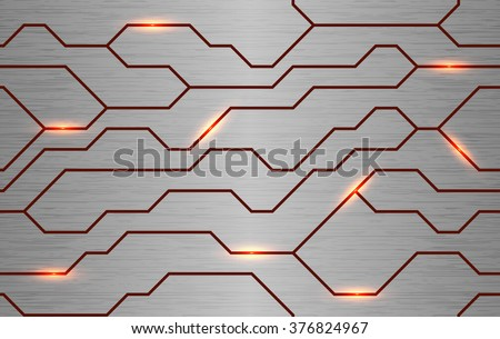 Seamless vector futuristic techno texture. Abstract energy line on brushed metal background. Power vein light tech pattern.