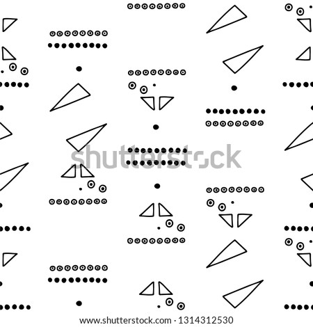Seamless vector geometric doodle black white pattern hand drawn etnic small simple little doodle elements geometric abstract etnic design, drawing repeating illustration Back ground Doddle etno style