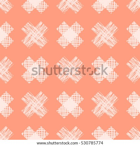 Seamless vector  geometrical pattern with cross. Red endless background with  hand drawn textured geometric figures Graphic  illustration Template for wrapping, web backgrounds, wallpaper.