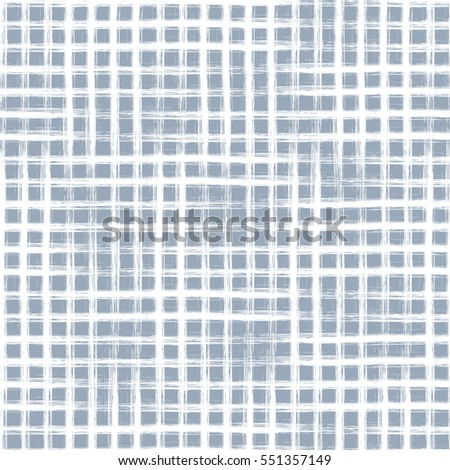 Seamless vector geometrical pattern with hand drawn lines. Endless blue checkered background with vertical and horizontal lines