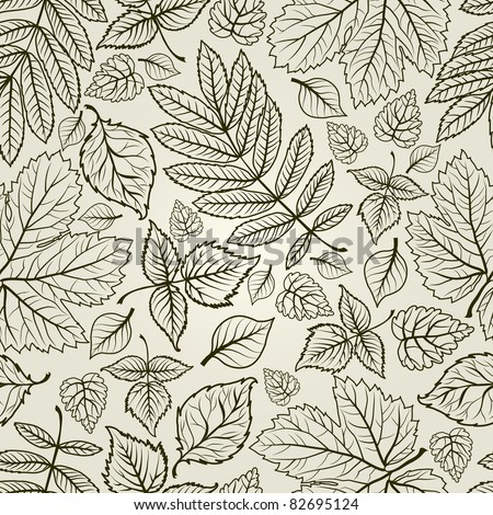 """Seamless vector grunge autumn leaves background. Thanksgiving (from my big """"Seamless collection"""")"""