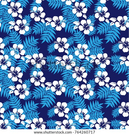 Seamless vector Hibiscus pattern for  Island formal in Oceania countries (Melanesia, Micronesia, Polynesia) , Traditional Fabric