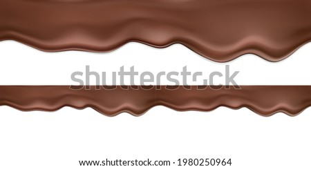 Seamless vector horizontal realistic dark or milk chocolate with drip and shadows.A smooth wave of flowing melted chocolate, cocoa or chocolate dessert.Liquid flowing chocolate isolated on white