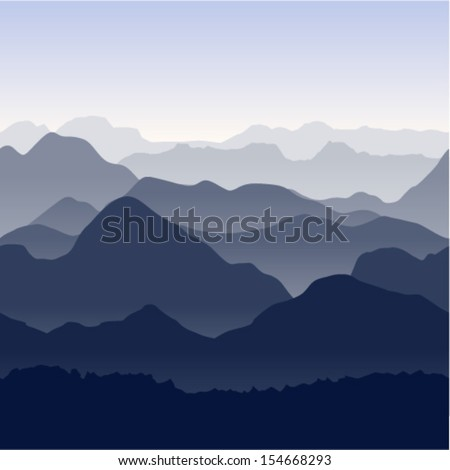 Seamless vector illustration. Blue mountains in the fog.