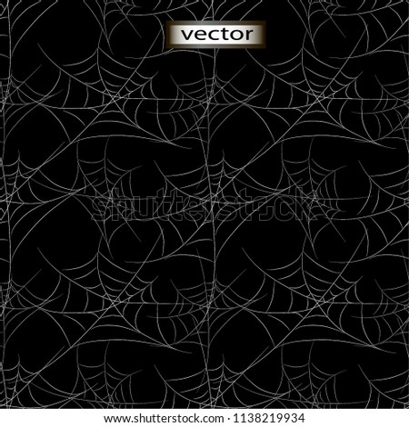 Seamless vector illustration of a night cobweb lot on black wall background all covered with cobwebs scary decorative background
