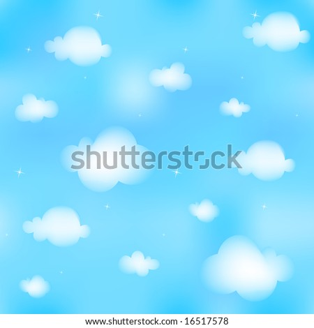 Seamless vector illustration of white clouds on blue sky, cloudscape. Tileable.