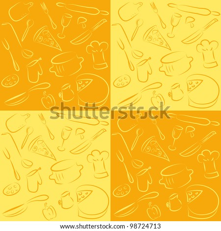 seamless vector kitchen pattern