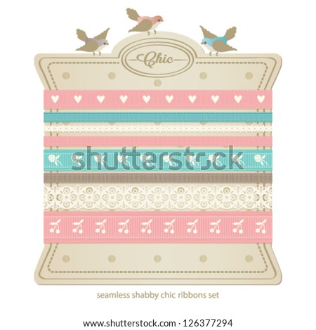 Seamless vector lace ribbons set. Shabby chic collection.