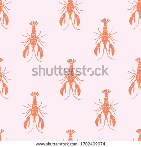 Seamless vector marine pattern background with red lobsters on pink background. Vector polka dot animal texture. Perfect for wallpapers, web page backgrounds, fabric print design. Stock foto ©