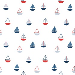 Seamless vector marine pattern with boats. For cards, t-shirt prints, birthday, party invitations, scrapbook, summer holidays. Vector illustration in red, and blue colors