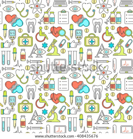 Seamless vector medicine and health design pattern with modern linear icons. Medical background contains line style symbols.