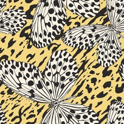 Seamless vector multicolor butterflies pattern. Butterfly on zebra leopard print. Trendy animal motif wallpaper. Fashionable background for fabric, textile, design, banner, cover.