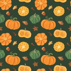 Seamless Vector Orange and Green Pumpkins Pattern with Pumpkin pie and spices on the dark background.