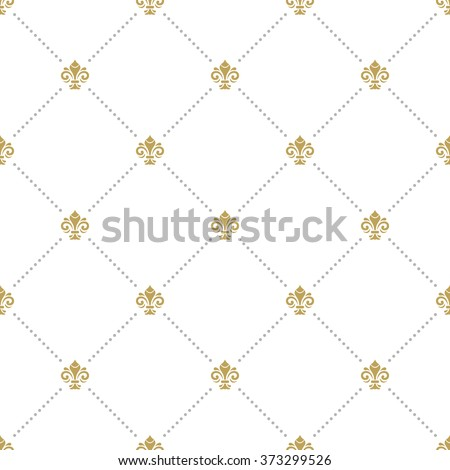 Seamless vector ornament. Modern geometric pattern with royal lilies