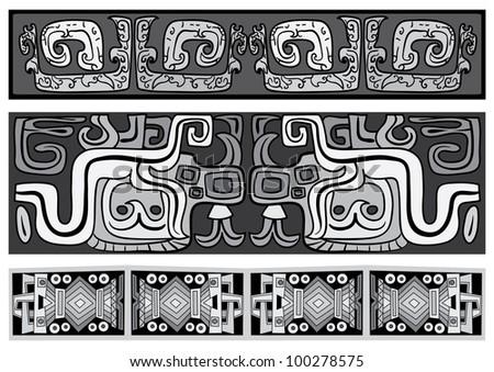 Seamless vector ornaments. Maya and aztecs.