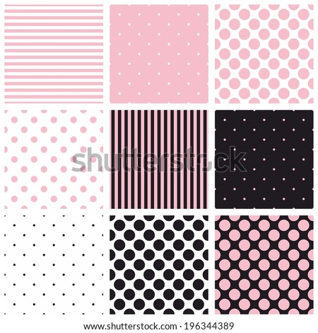 Seamless vector pastel pink, black and white pattern or background set with big and small polka dots and stripes